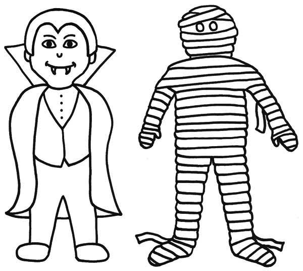 Vampire, : Vampire and Mummy Coloring Page