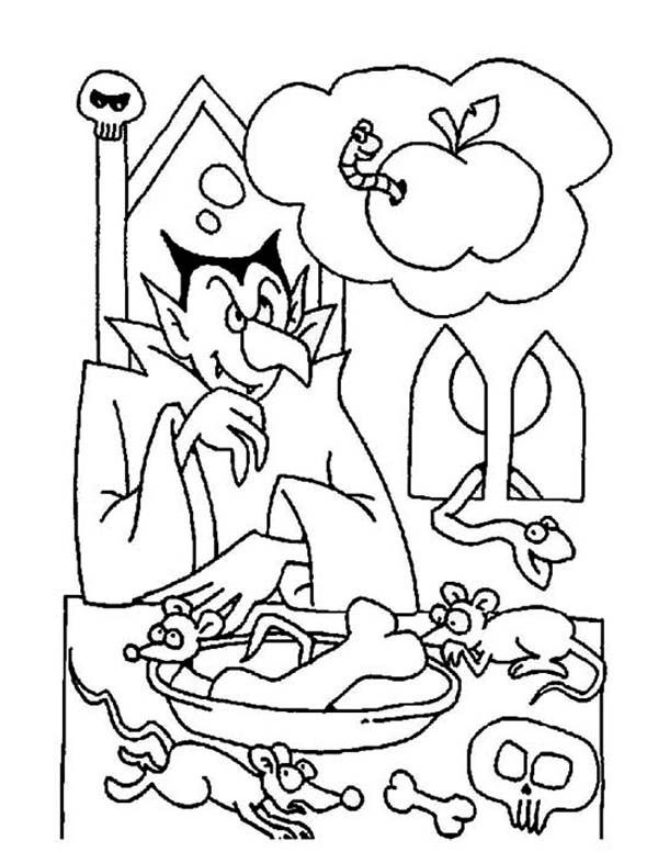 Vampire, : Vampire in Dinning Room Coloring Page