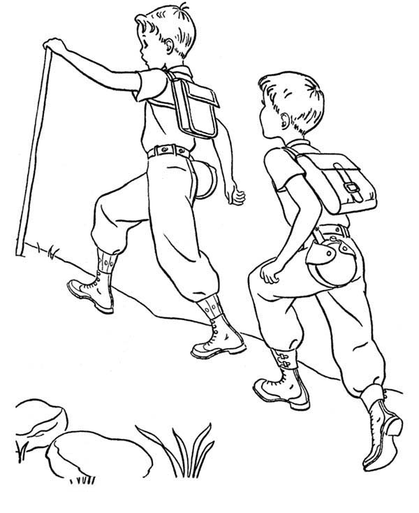 Camping, : Walking to Reach Camping Location Coloring Page