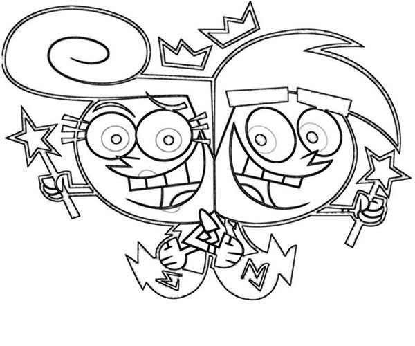 The Fairly Odd Parents, : Wanda and Cosmo Stuck in Each Other Back in the Fairly Odd Parents Coloring Page