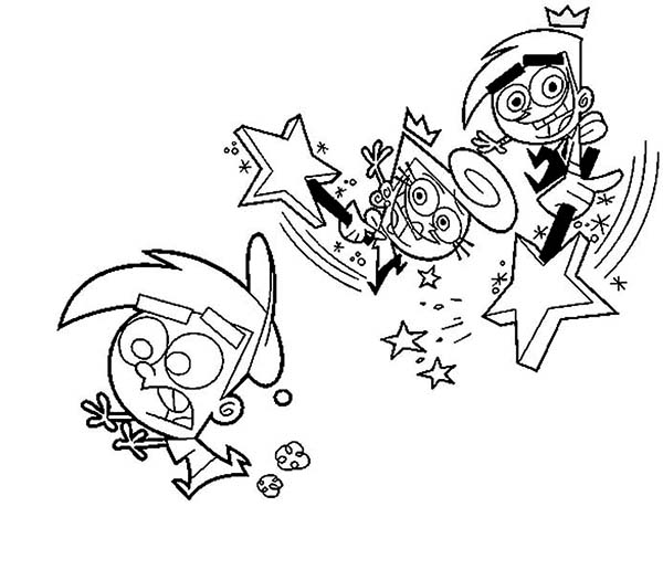 The Fairly Odd Parents, : Wanda and Cosmo Want Hit Timmy Because Being Naughty in the Fairly Odd Parents Coloring Page