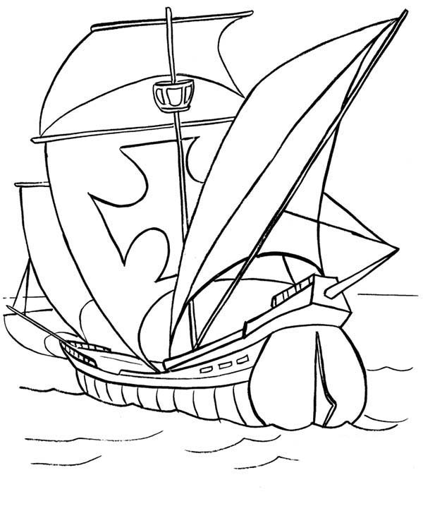 Boat, : War Boat Coloring Page