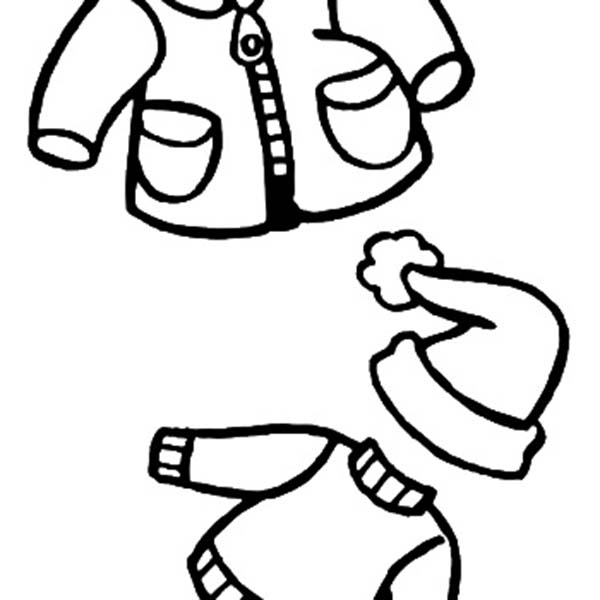 Winter Clothing, : Warm Clothes for Kids in Winter Clothing Coloring Page