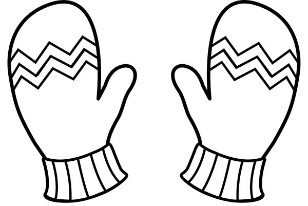 Winter Clothing, : Warm Gloves in Winter Clothing Coloring Page