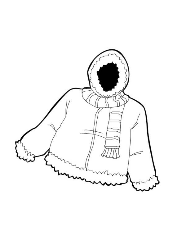 Winter Clothing, : Warm Jacket in Winter Clothing Coloring Page