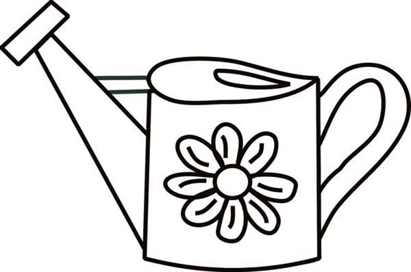 With Watering Can Coloring Page | Coloring Page