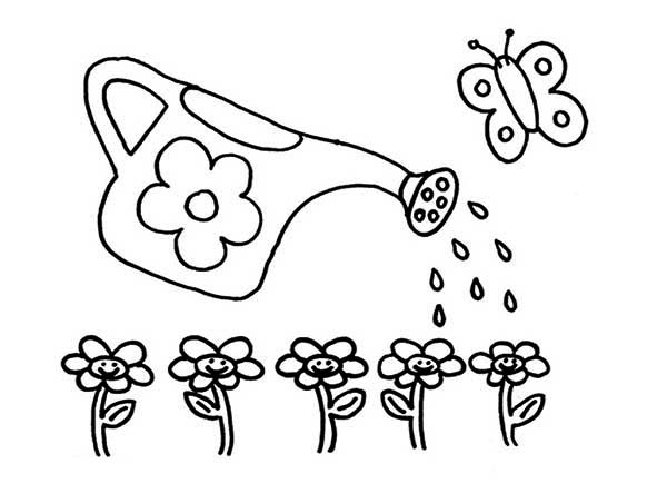 Watering Can, : Watering Can Spread Water to Flowers Coloring Page
