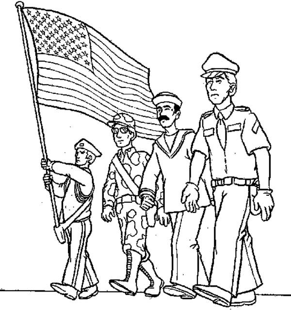 Armed Forces Day, : Waving American Flag in Armed Forces Day Coloring Page