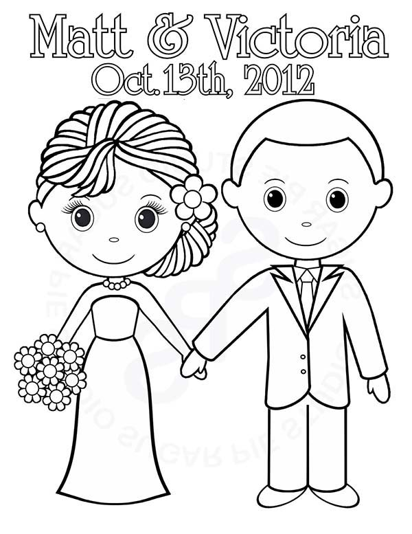 Wedding, : We are Getting Married Today Its Our Wedding Day Coloring Page