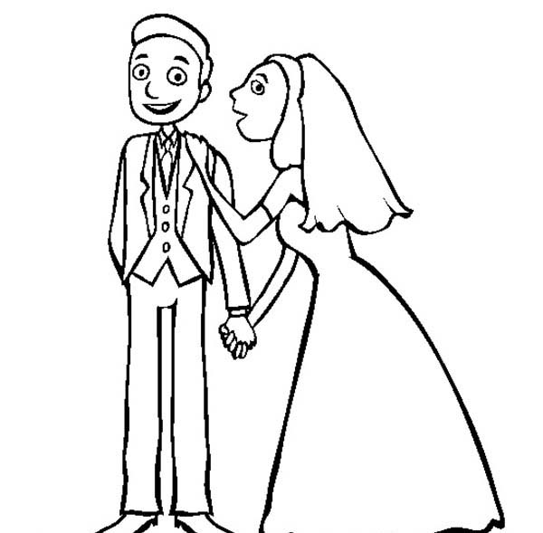 Wedding, : Wedding Coloring Page for Kids