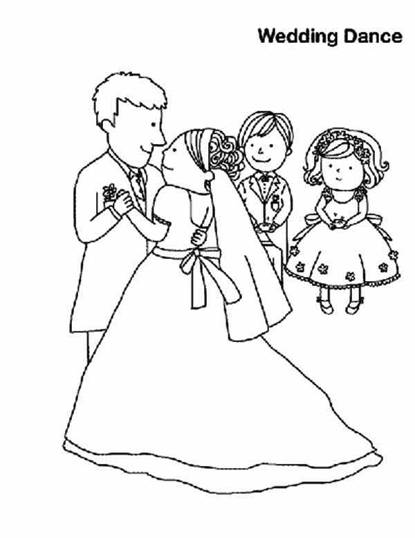 Wedding, : Wedding Dance Coloring Page