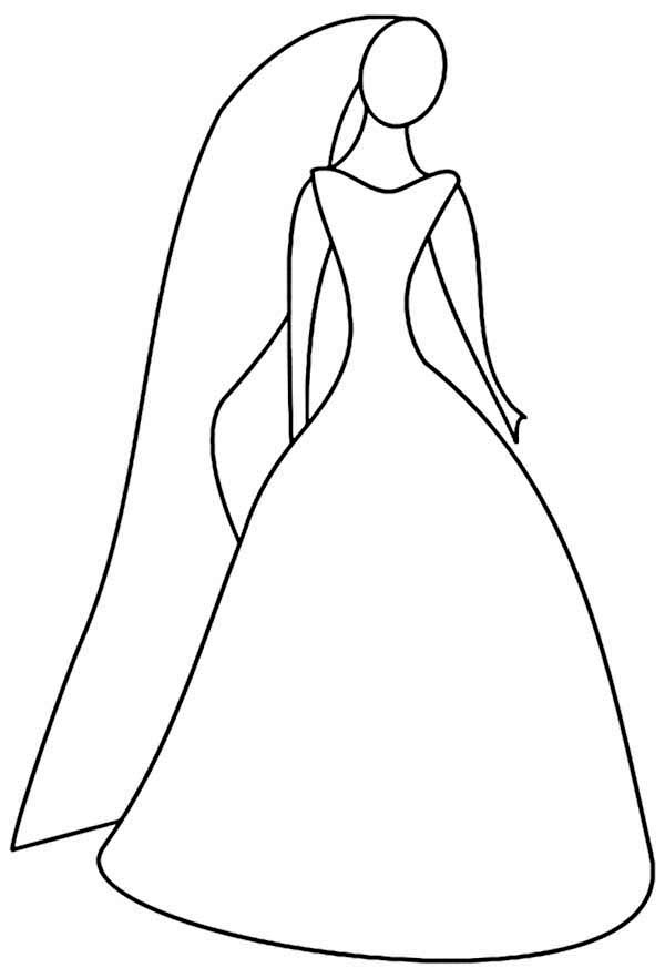 Dress, : Wedding Dress Coloring Page