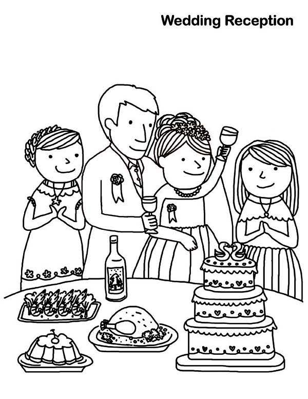 Wedding, : Wedding Reception Coloring Page