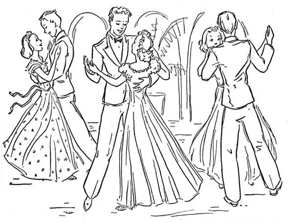 Dance, : Wedding Slow Dance Coloring Page