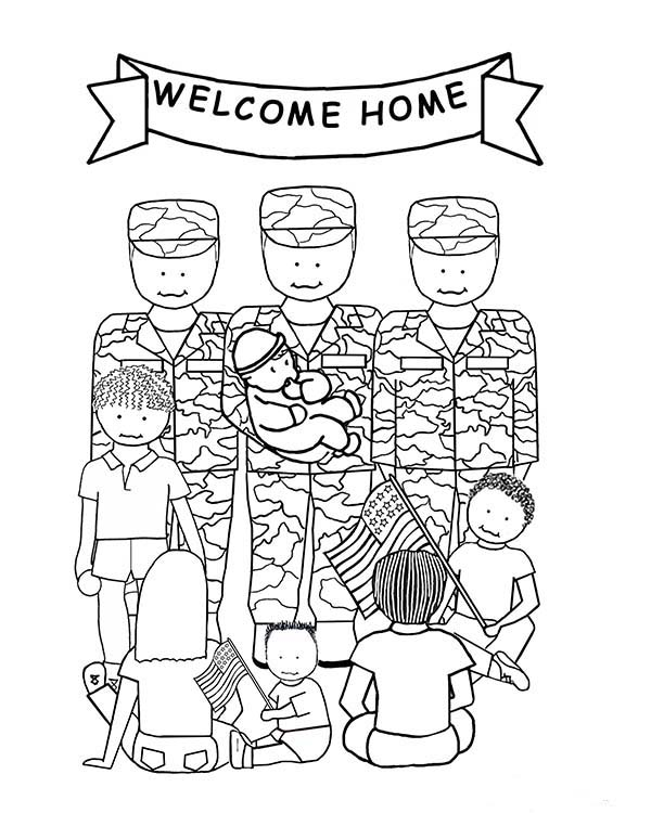 Armed Forces Day, : Welcome Home Soldier in Armed Forces Day Coloring Page