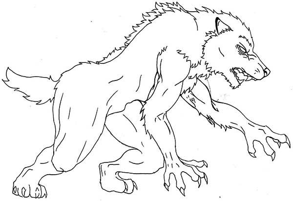 Werewolf, : Werewolf Coloring Page for Kids