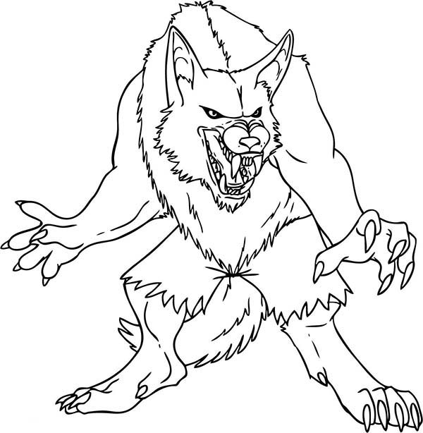 Werewolf, : Werewolf Ready to Attack Coloring Page