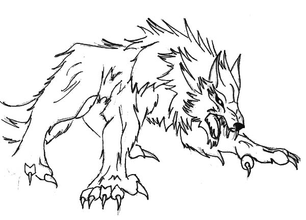 Werewolf, : Werewolf Ready to Pounce Coloring Page