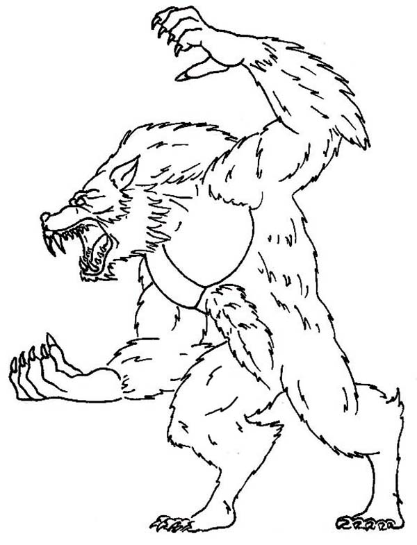 Werewolf, : Werewolf Sharp Claws Coloring Page