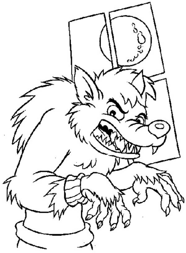 Werewolf, : Werewolf Sneaking in People House Coloring Page