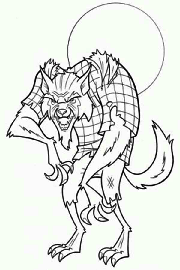 Werewolf, : Werewolf Still Wear His Shirt Coloring Page