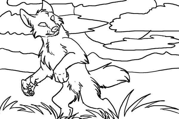 Werewolf, : Werewolf Wander Around Coloring Page