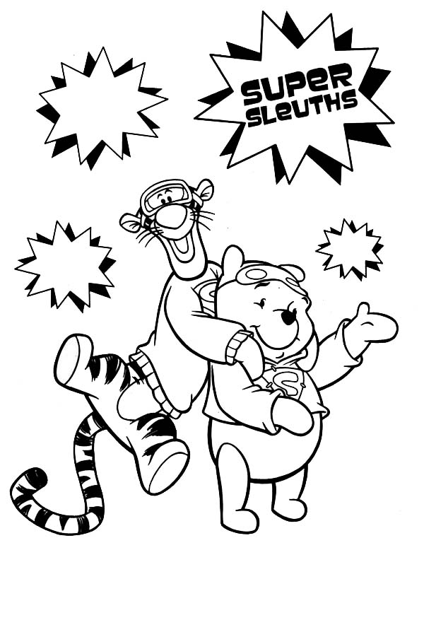 Tigger, : Winnie the Pooh and Tigger are Best Friend Coloring Page
