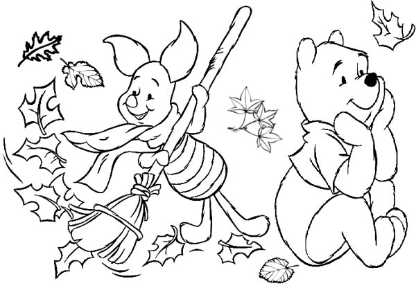 Autumn, : Winnie the Pooh in Autumn Season Coloring Page