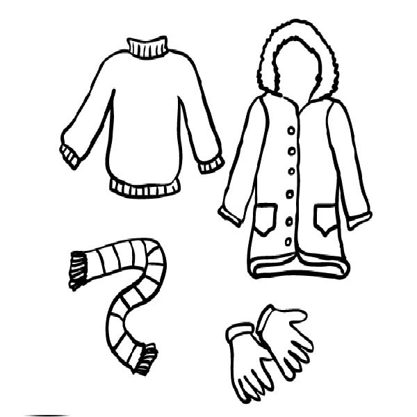 Winter Clothing, : Winter Clothing Coloring Page for Kids