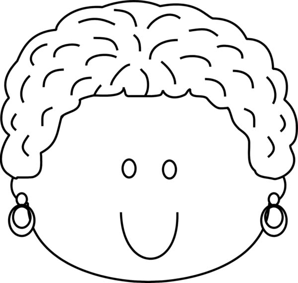 Face, : Woman Happy Face Coloring Page