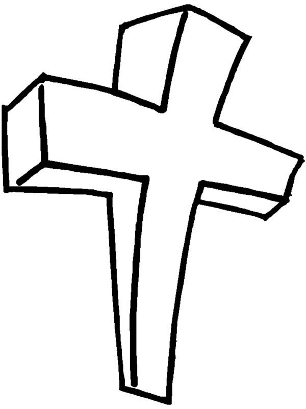 Cross, : Wooden Cross Coloring Page