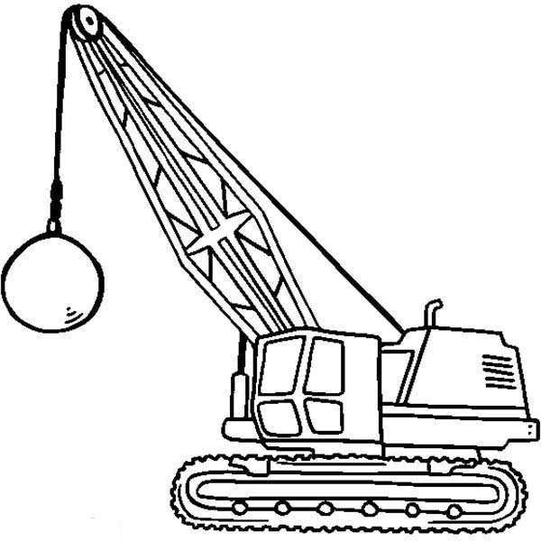 Construction, : Wrecking Ball Tractor for Construction Work Coloring Page