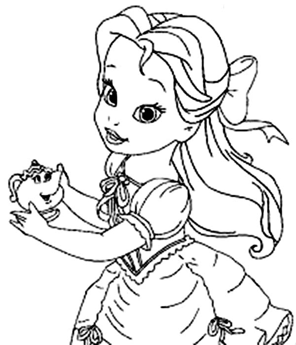 Belle, : Young Belle Holding Mrs Potts Coloring Pages