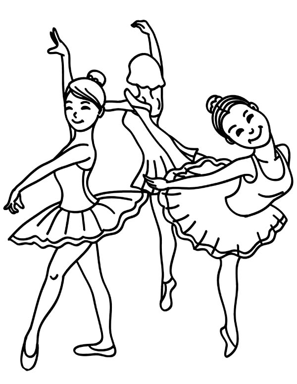Dance, : Young Girls Ballet Dance Class Coloring Page