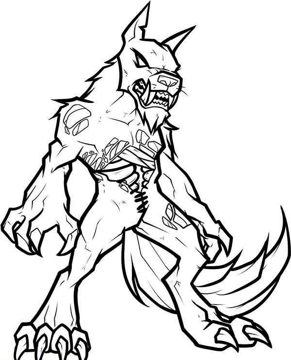 Werewolf, : Zombie Werewolf Coloring Page