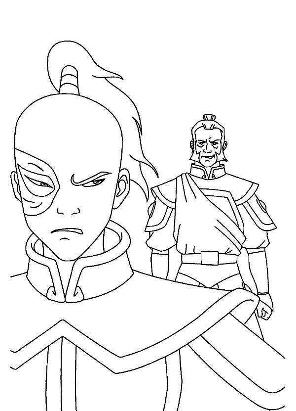 Avatar the Last Air Bender, : Zuko Hate Admiral Zhao in Avatar the Last Air Bender Coloring Page
