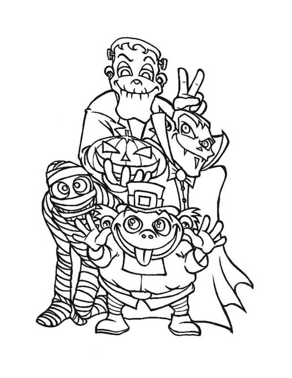 Halloween Day, : All Halloween Day Gangs Say Joyful and Happy Halloween Day Coloring Page