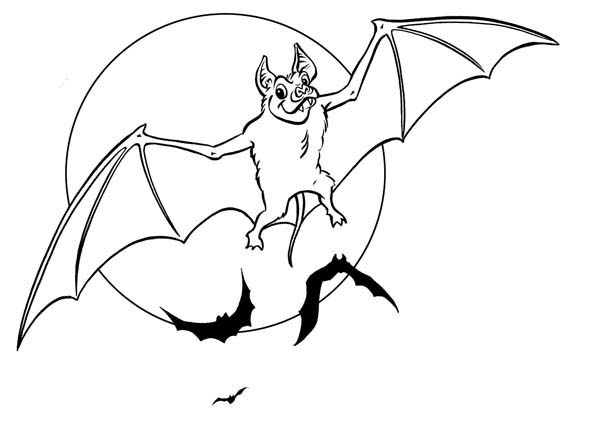 Halloween Day, : Bats Flying on Halloween Day Coloring Page