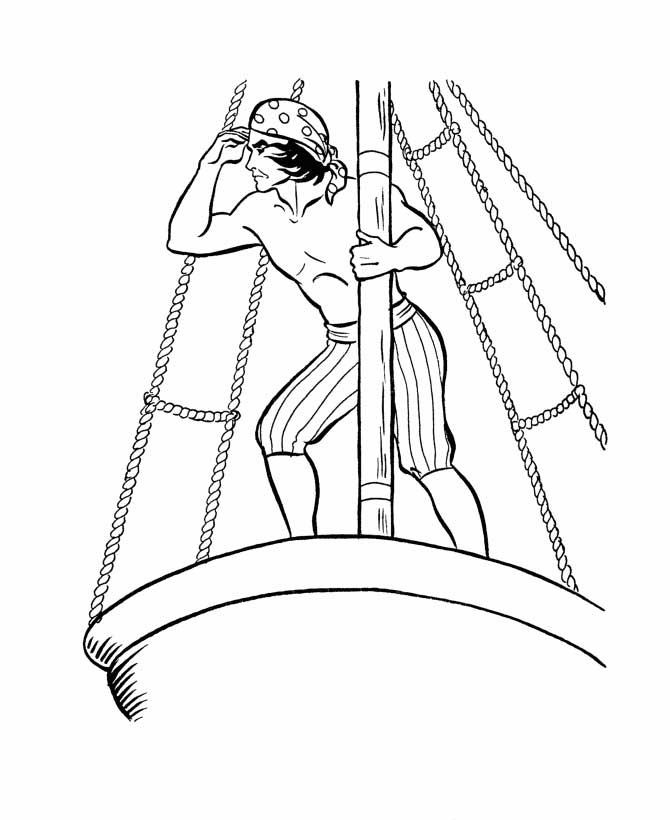 Columbus Day, : Columbus Crew On Spying Deck On Columbus Day Coloring Page