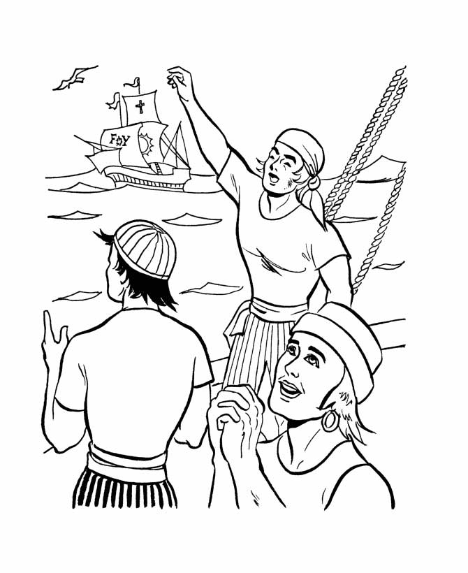 Columbus Day, : Columbus Crews On Columbus Day Coloring Page