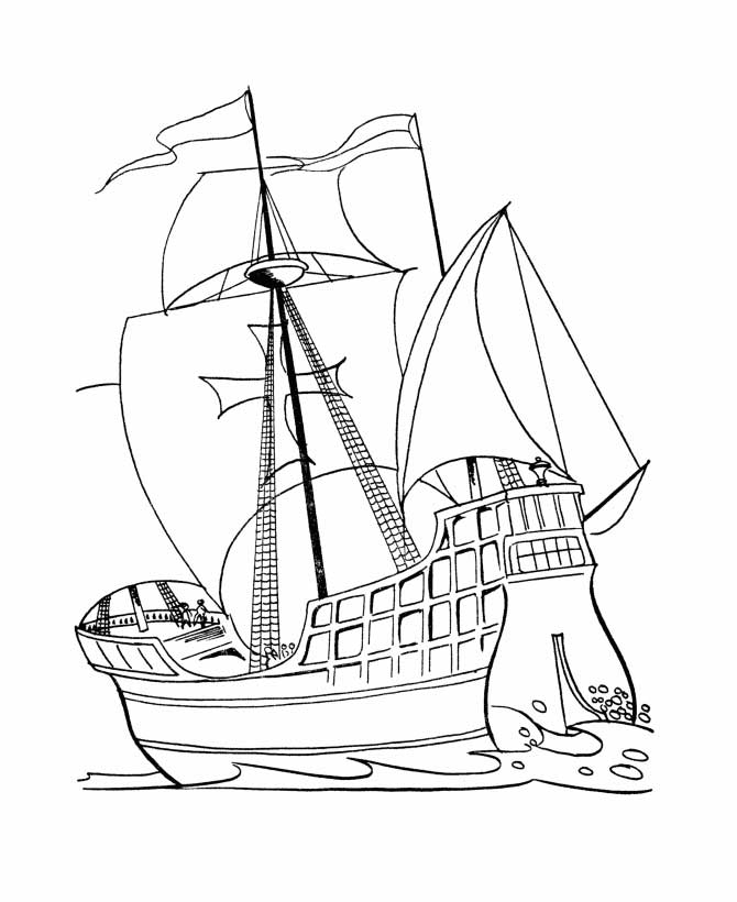 Columbus Day, : Columbus Day Voyage Coloring Page