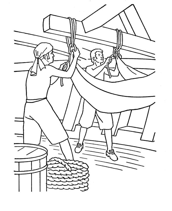 Columbus Day, : Columbus Sailors On Columbus Day Coloring Page