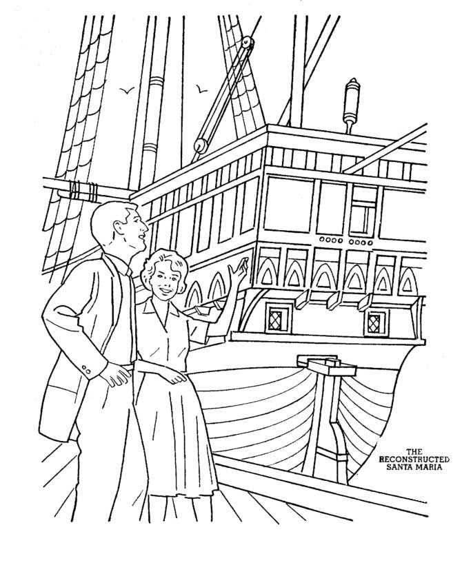 Columbus Day, : Columbus Santa Maria Replica On Columbus Day Coloring Page