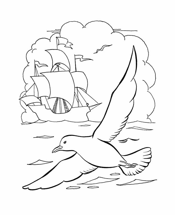 Columbus Day, : Columbus Ship With Seagul On Columbus Day Coloring Page