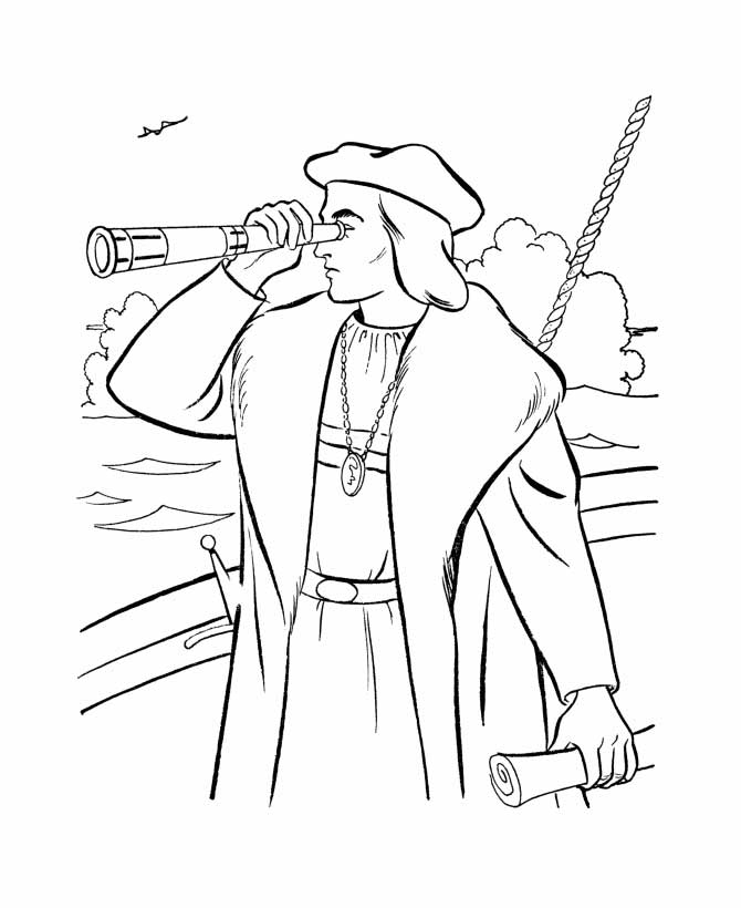 Columbus Day, : Columbus Using Spyglass On Columbus Day Coloring Page