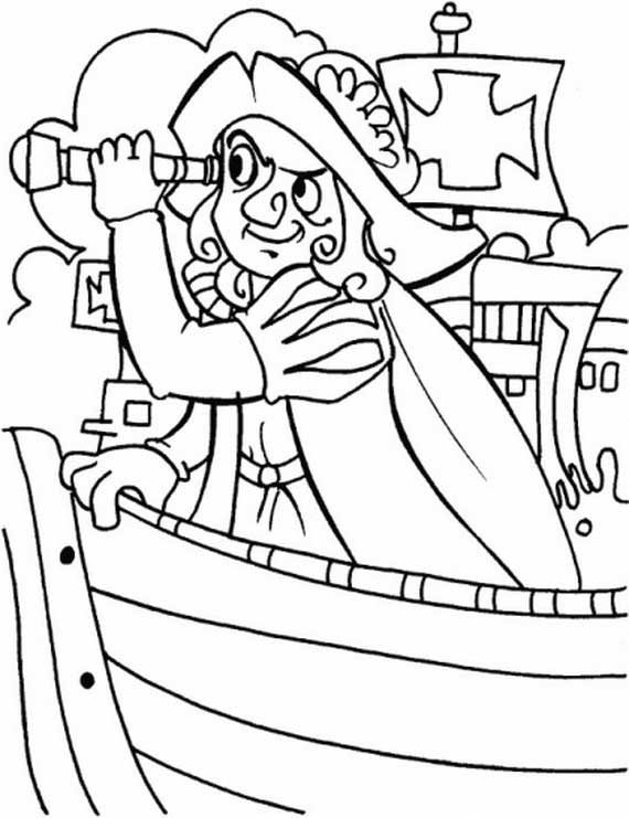 Columbus Day, : Columbus With Spyglass On Columbus Day Coloring Page