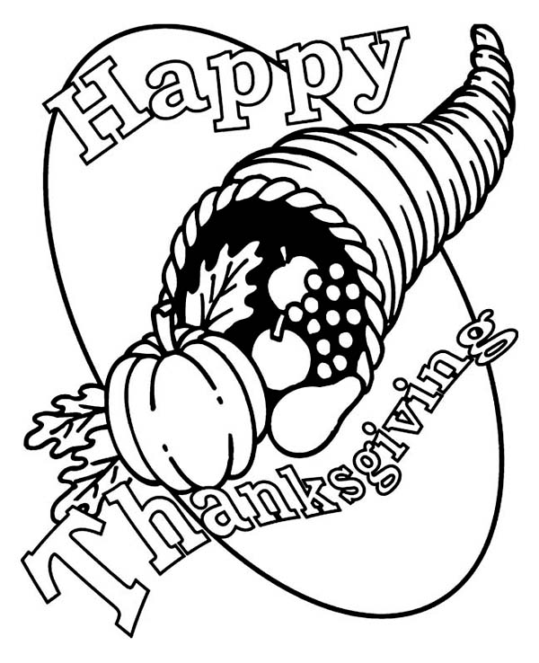 Canada Thanksgiving Day, : Cornucopia Canada Thanksgiving Day Horn Basket Coloring Page