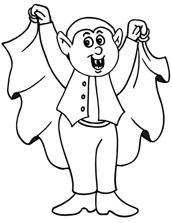 Halloween Day, : Count Dracula on Halloween Day Coloring Page