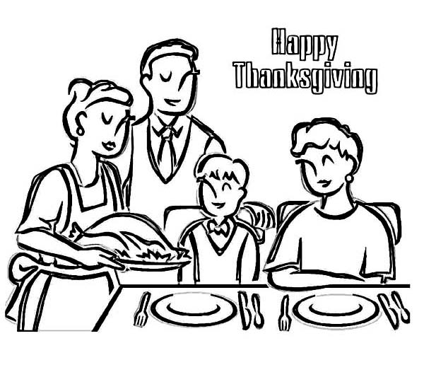 Canada Thanksgiving Day, : Enjoying Thanksgiving Dinner with Whole Family Coloring Page