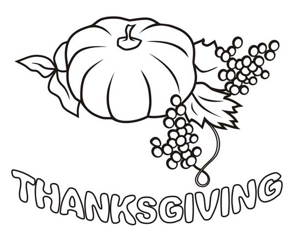 Canada Thanksgiving Day, : Grape and Pumpkinfor Canada Thanksgiving Day Dinner Coloring Page